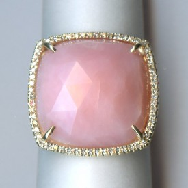 Cushion-cut Pink Opal Ring