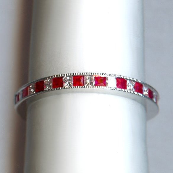 White gold ruby and diamond ring 1