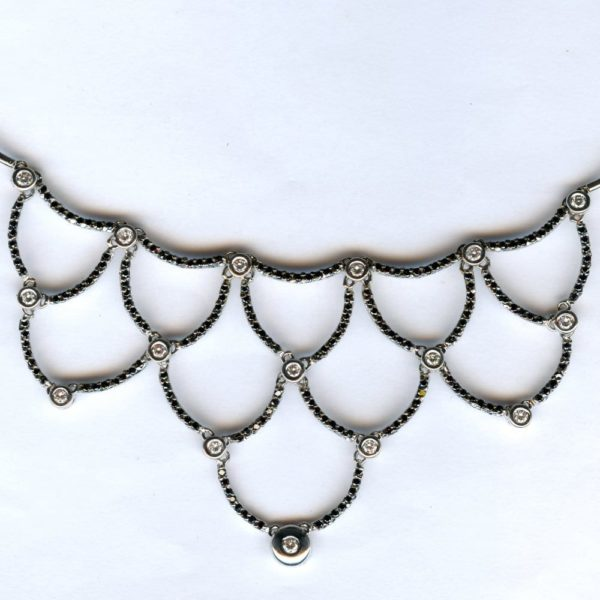 White gold diamond and black diamond necklace 1
