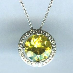 White gold diamond and lemon quartz pendant