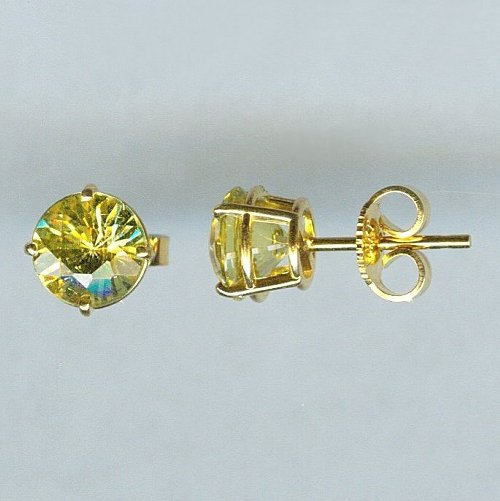 Yellow gold chrysoberyl earrings 1