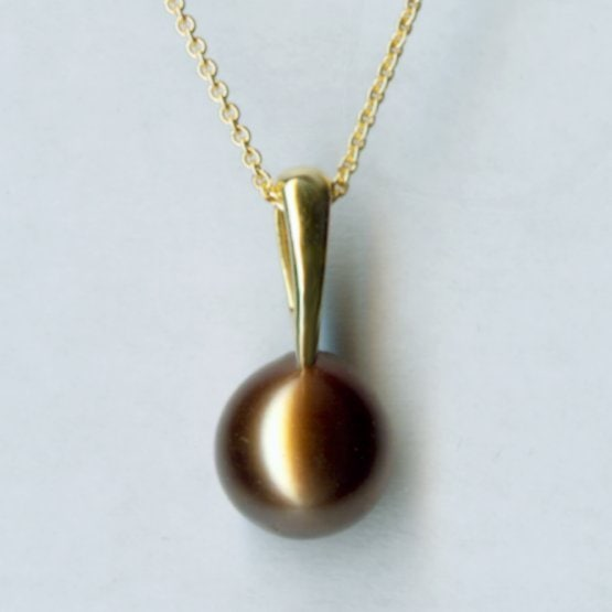 Yellow gold pearl pendant 1
