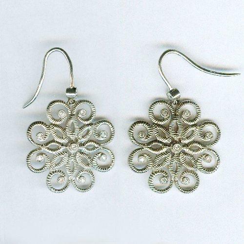Sterling silver diamond earrings 1