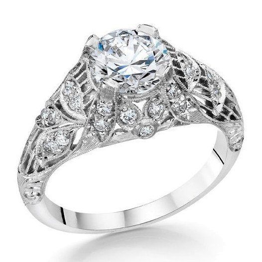 Platinum diamond ring mounting
