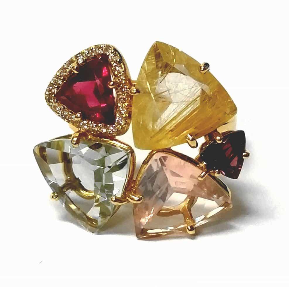 Yellow gold multi-gem ring 1