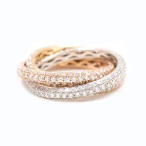 Tri color gold diamond ring