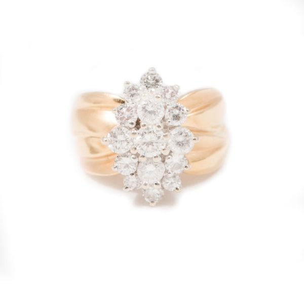 YELLOW GOLD 3 VETICAL ROW DIAMOND RING 1