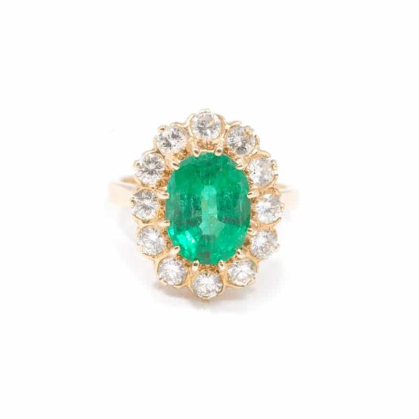 VINTAGE YELLOW GOLD EMERALD AND DIAMOND RING 1