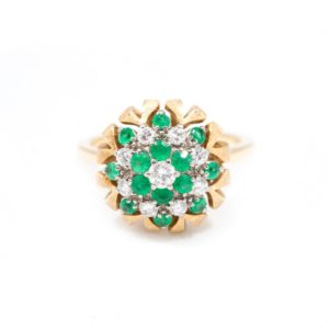 VINTAGE YELLOW GOLD EMERALD AND DIAMOND CLUSTER RING