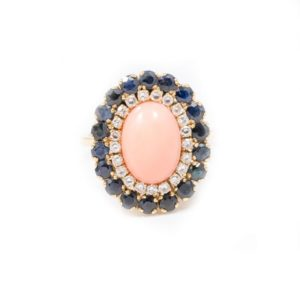 VINTGAE OVAL CORAL AND BLACK AND WHITE DIAMOND RING