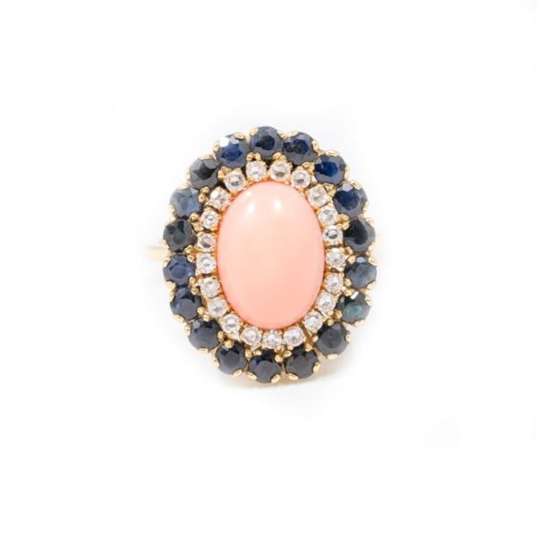 VINTGAE OVAL CORAL AND BLACK AND WHITE DIAMOND RING 1