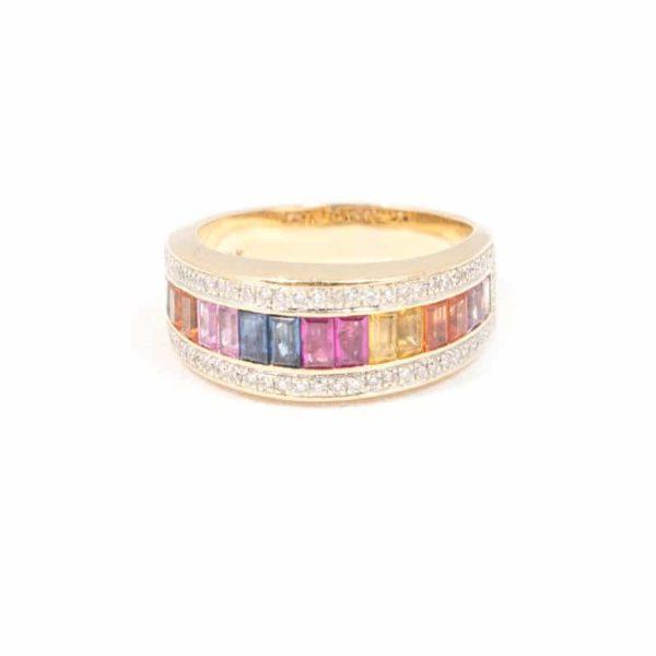 YELLOW GOLD DIAMOND SAPPHIRE/QUARTZ RING 1