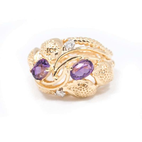 YELLOW GOLD AMETHYST AND DIAMOND RING 1