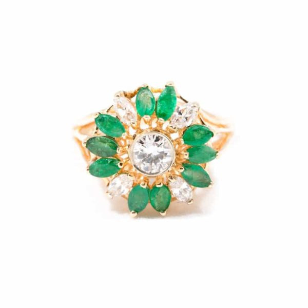 VINTAGE YELLOW GOLD EMERALD AND DIAMOND COCKTAIL RING 1