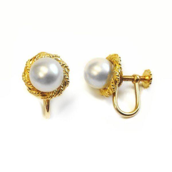 2341e63055bfc yellow gold pearl earrings - Argo & Lehne Jewelers