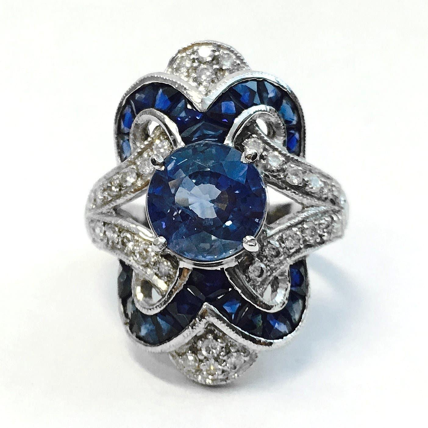 Platinum Vintage Sapphire Diamond Ring Argo Amp Lehne Jewelers