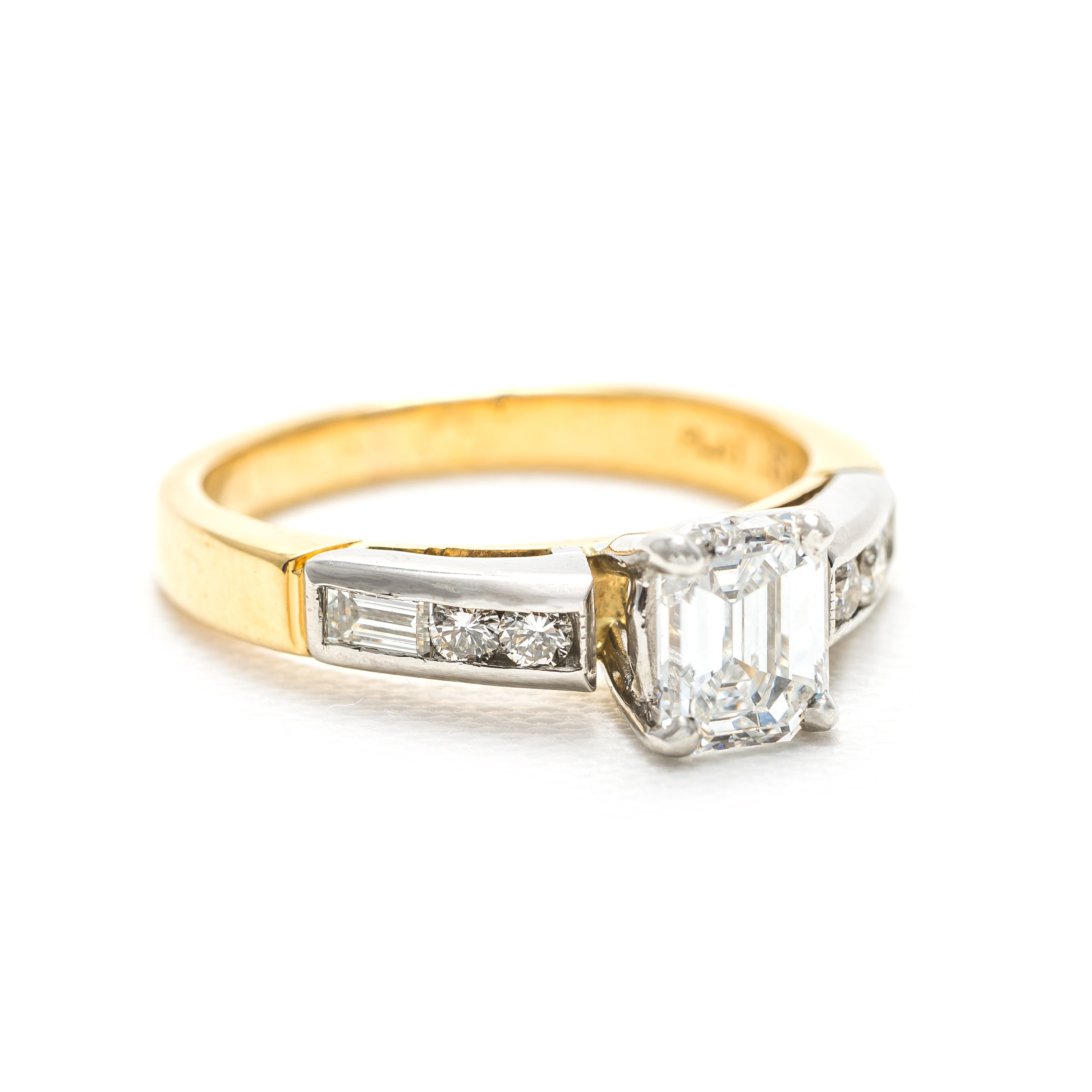 vintage platinum and yellow gold engagement ring