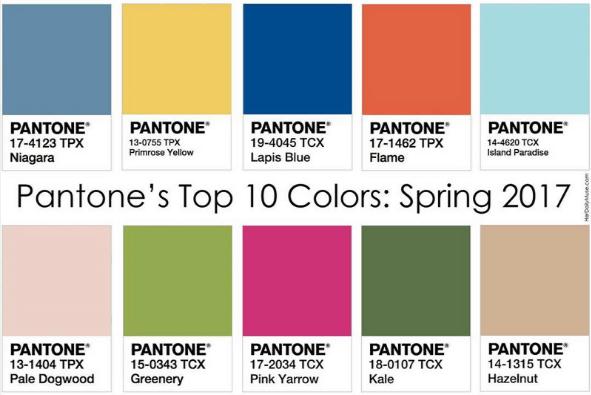 Pantone 2017 Spring Colors