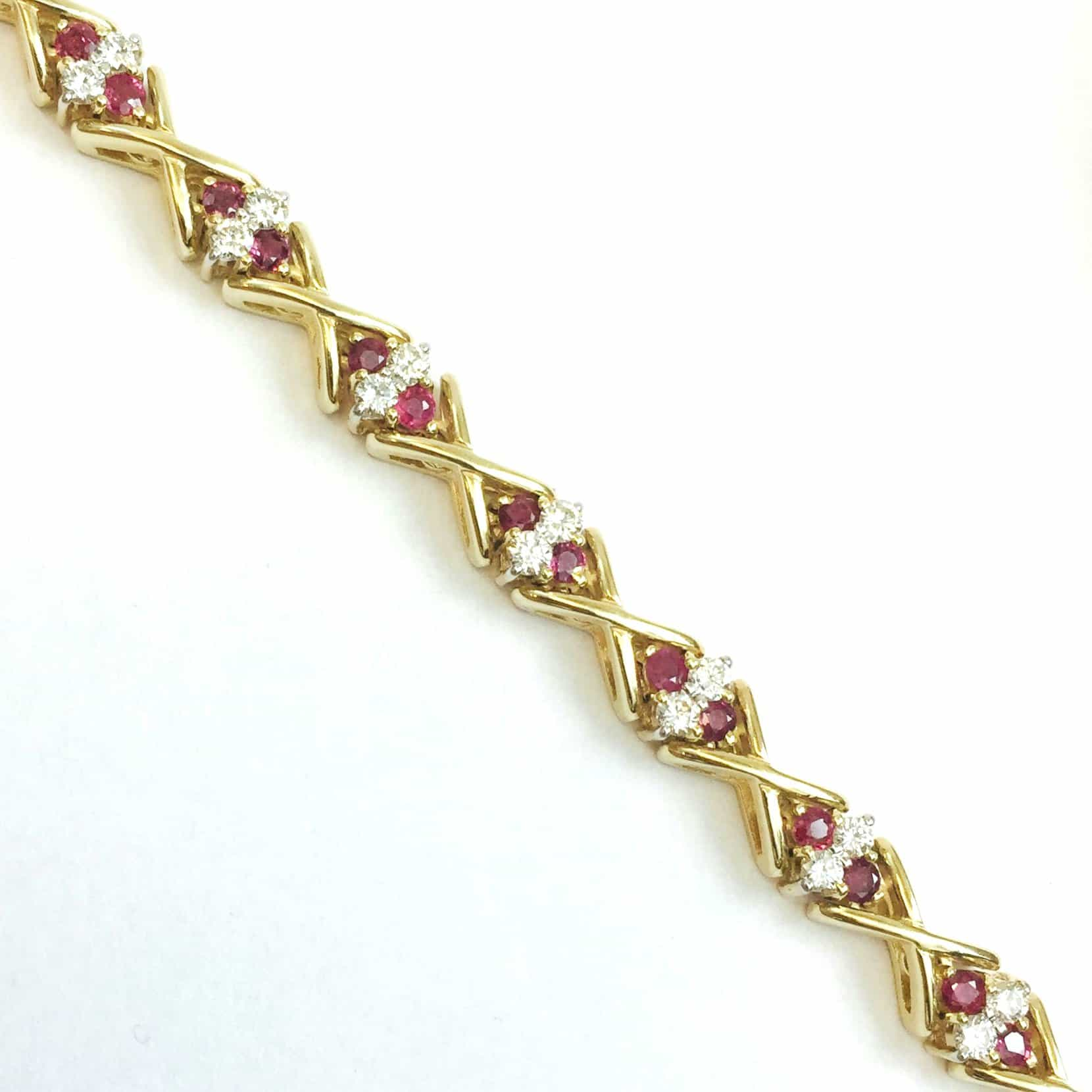 with created picture yellow of diamond gold ruby flashed bracelet brass tennis p in s