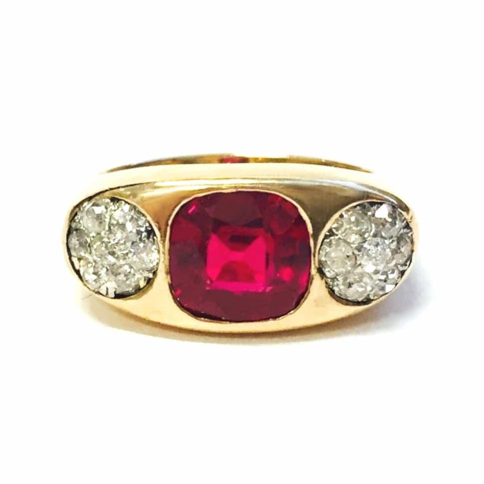 Ruby Wedding Rings.Yellow Gold Ruby Diamond Ring