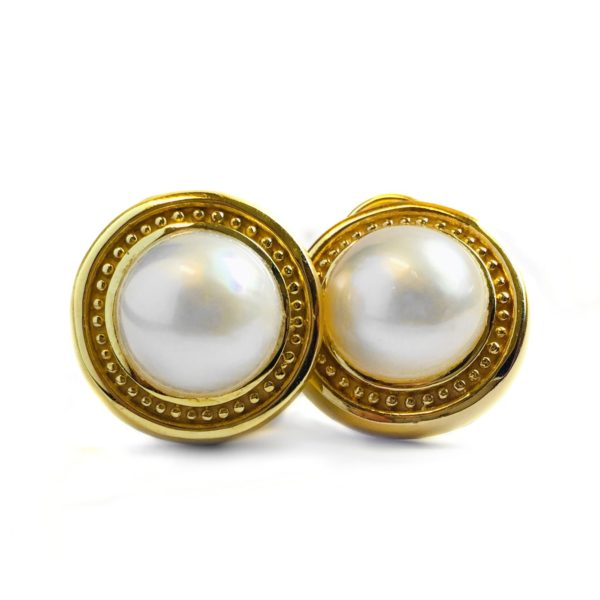 Yellow Gold Vintage Mabe Pearl Earrings 1 600 00 Prl Ears